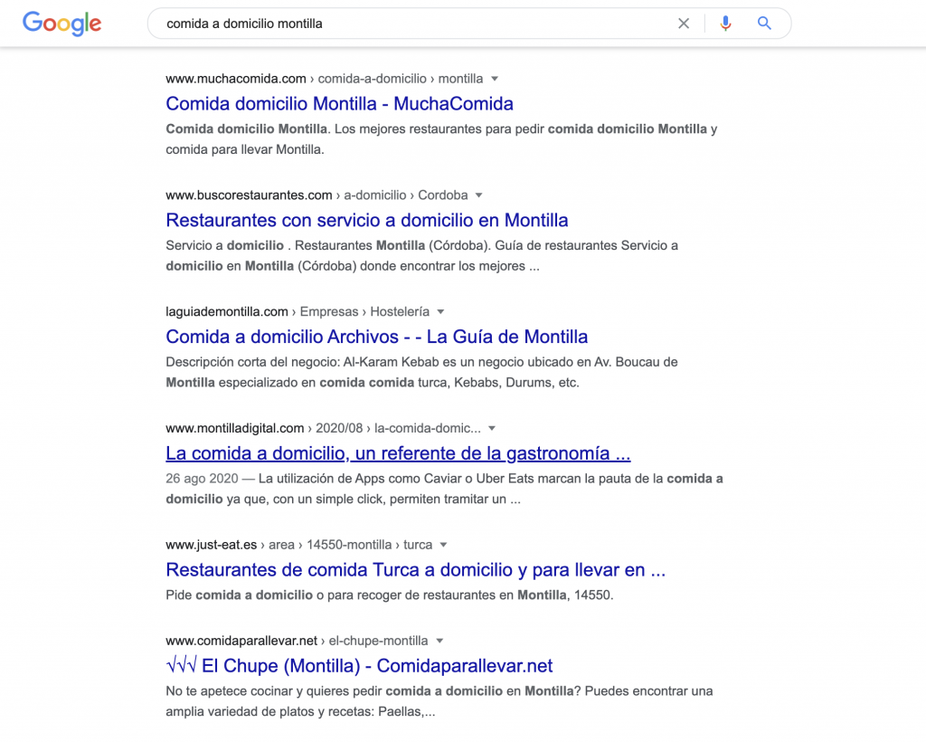 """Captura de búsqueda en Google de """"Comida a domicilio en Montilla"""""""