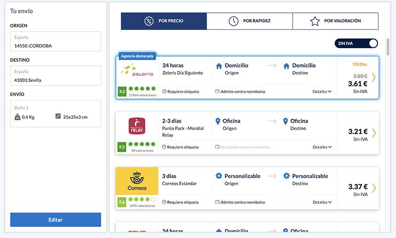 Captura de pantalla de una creación de envío a través del comparador de envíos
