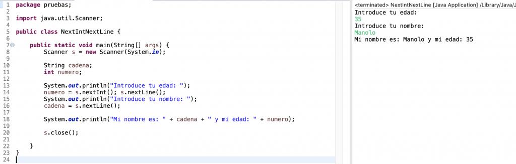 Ejemplo de uso en un programa de los métodos nextInt() y nextLine() de la clase Scanner en Java. Error solucionado con nextLine() adicional.