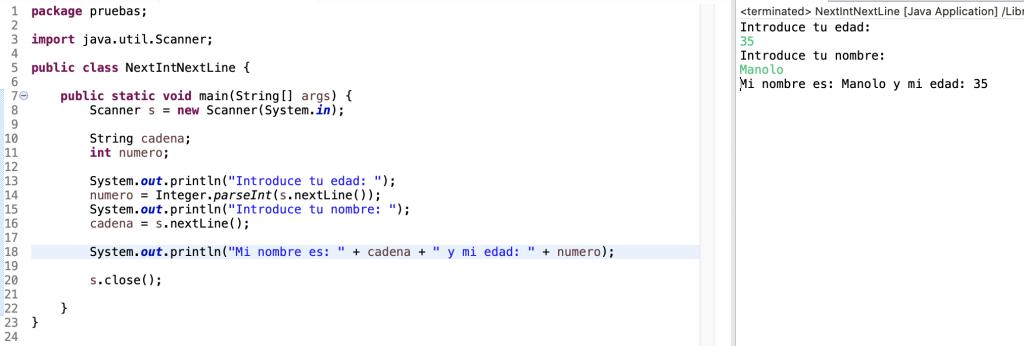 Ejemplo de uso en un programa de los métodos nextInt() y nextLine() de la clase Scanner en Java. Error solucionado mediante casting.